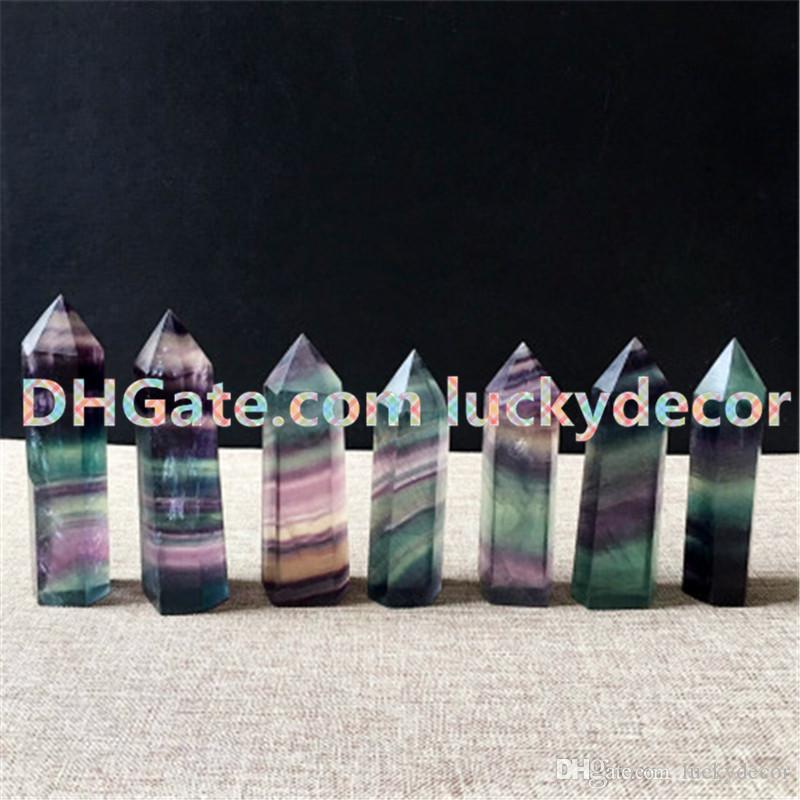 Rainbow Fluorite Healing Crystal Grid Standing Point Faceted Prism Wand Carved Fluorite Quartz Tower Point Obelisk Reiki Stone Figurine