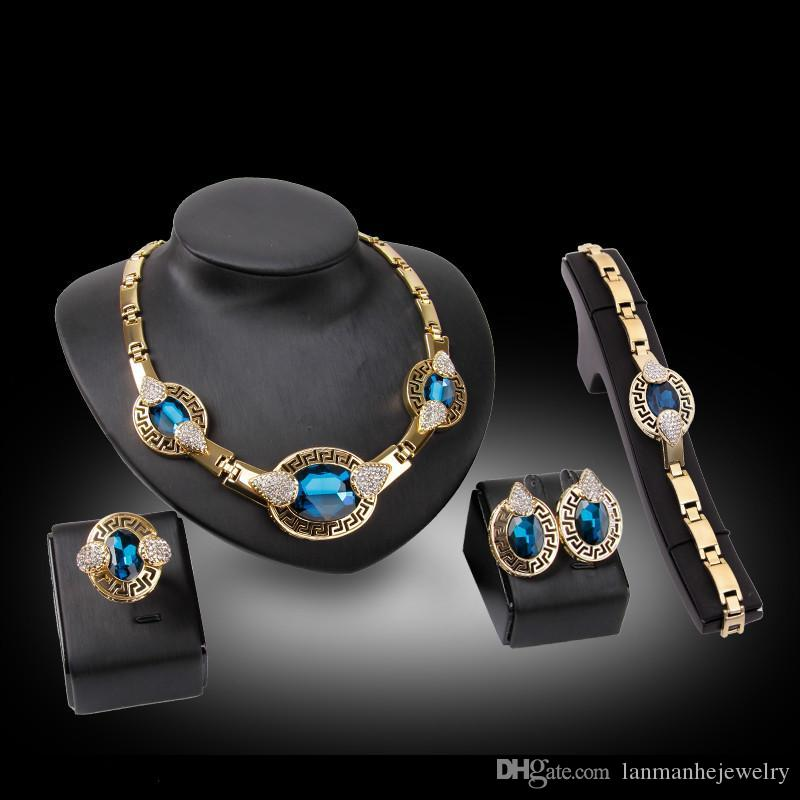 Necklaces Earrings Bracelets Rings Jewelry Sets Fashion Women Luxury Big Oval Rhinestones 18K Gold Plated Party Jewelry 4-Piece Set JS151