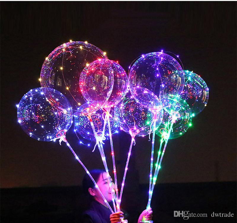 Light Up Toys LED String Lights Flashing Lighting Balloon wave Ball 18inch Helium Balloons Christmas Halloween Decoration Toys