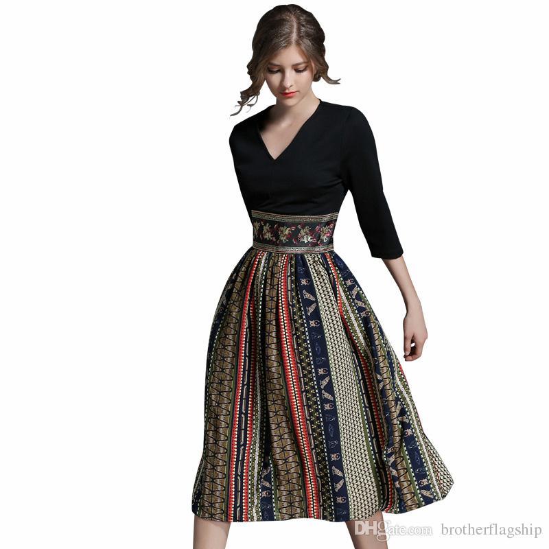 ce5c1f27f Compre Outono Nova Impressão Casual Mulheres Vestidos Retro Big Swing Sexy  Com Decote Em V Magro Partido Escritório Chiffon Vestido Longo Vestidos De  ...