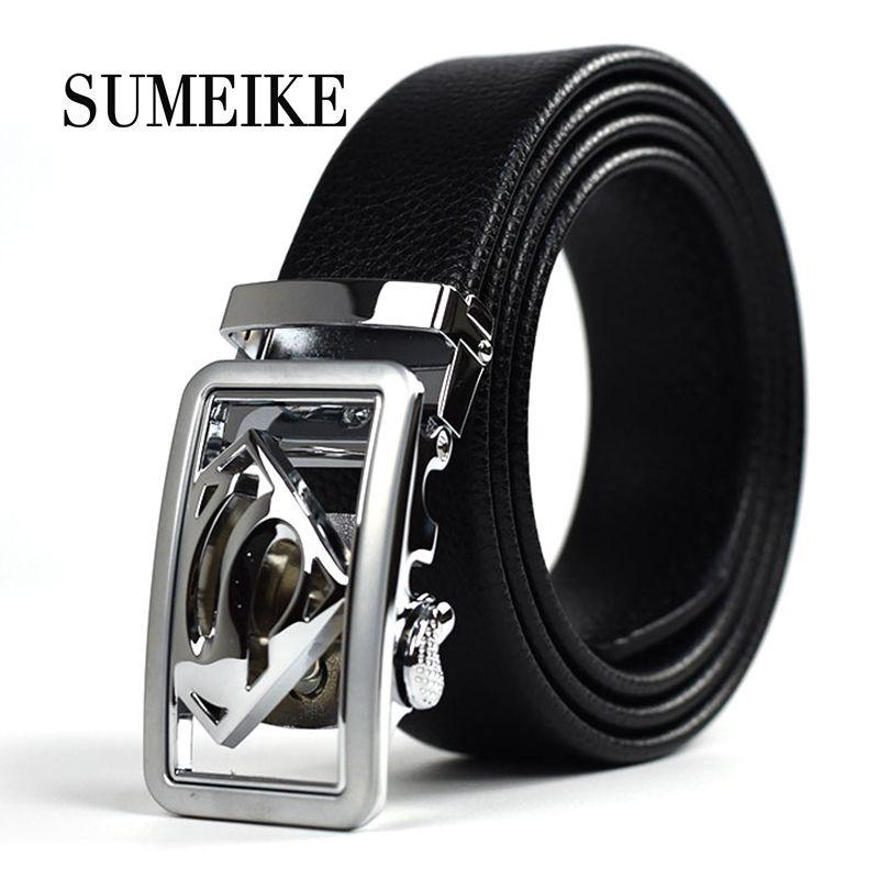 ba2653ffa5e Designer Leather Belts Men High Quality Superman Automatic Silver Buckle  Belt Men Ceintures Ceinture Homme Business Mens Strap Custom Belt Buckles  Bullet ...