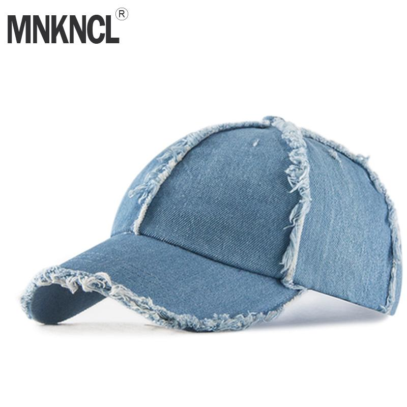 1a0e54ee5 MNKNCL High Quality Denim Baseball Cap Men's Adjustable Cap Casual Hats  Solid Color Fashion Snapback Summer Hats