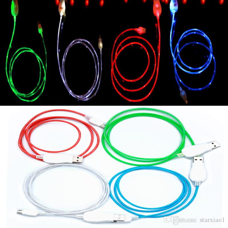 Flowing LED Visible Flashing USB Charger Cable TPE 1M 3FT Data Sync Colorful Light Up Cord Lead for Samsung HTC Blackberry All smartphone