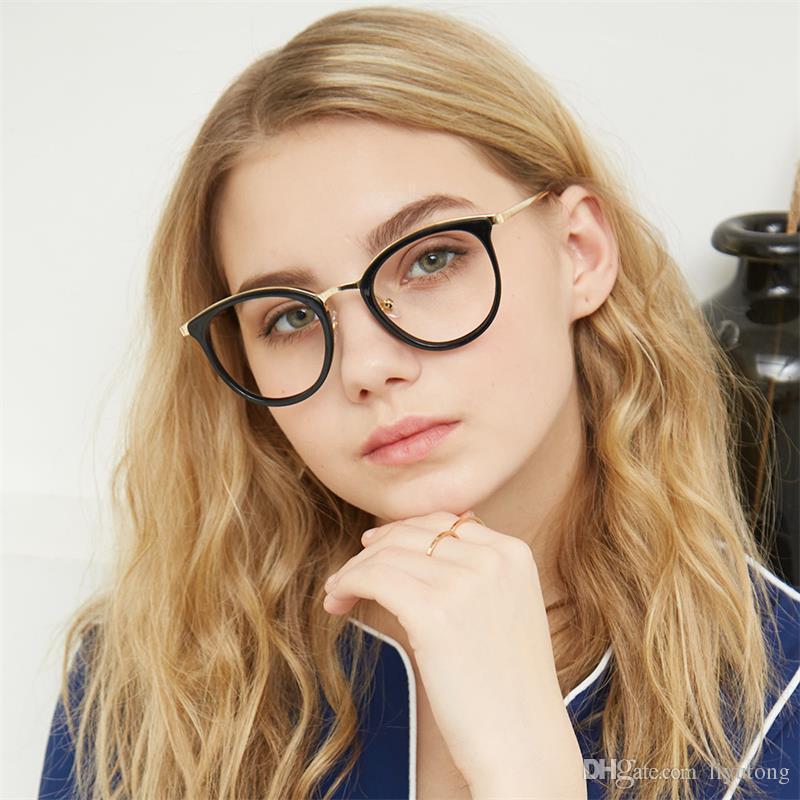 Limpar Lente Cat Eye Óculos de Armação Mulheres Moda óculos de Leitura  óptica óculos de Olho óculos transparentes Do Vintage para as mulheres 2018 60918d90d1