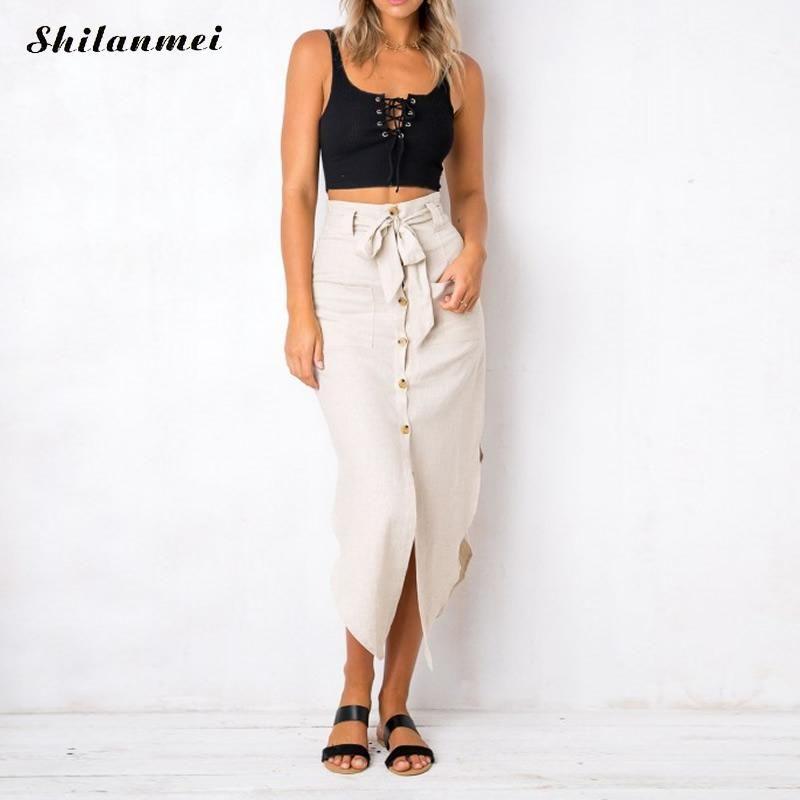 4ea6f48b9 2019 2018 Fashion Women Linen Cotton Long Skirts Asymmetrical Front Button  Maxi Skirts Beach Boho Vintage Summer Faldas Saia From Salom, $23.25 |  DHgate.Com