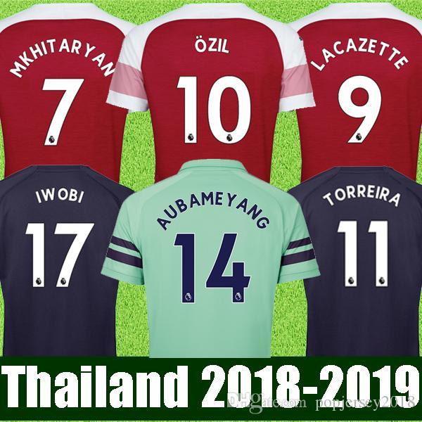 Online Cheap Thailand Arsenal Soccer Jersey 2018 2019 Aubameyang Mkhitaryan  Ozil Jersey 18 19 Lacazette Xhaka Torreira Football Kit Top Soccer Shirt By  . 8d624d4cd