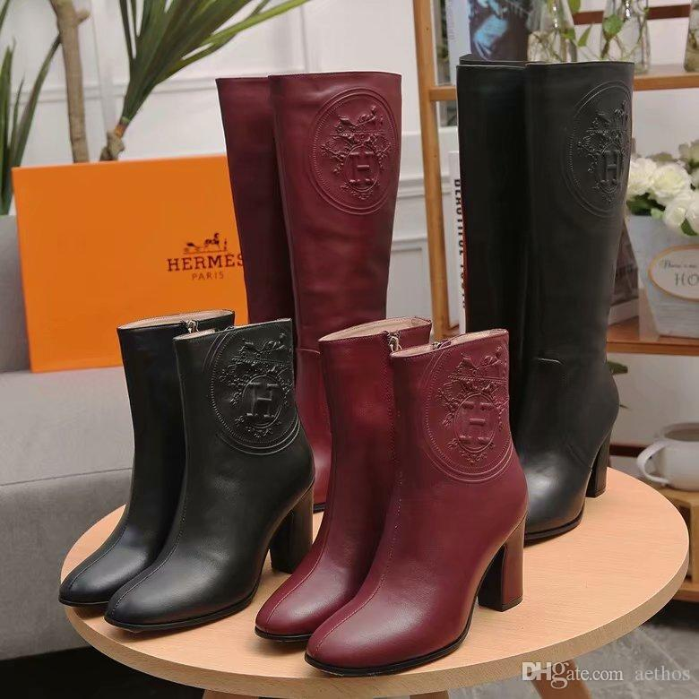 3822364f64eb Brand Women Winter Cow Leather High Heeled Short Boots Motorcycle Western  Cowboy Desert Half Boots Hunting Army Combat Military Boots