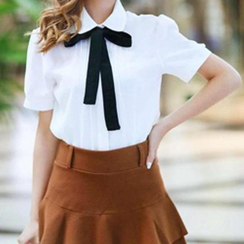 a9a9bcfaa4c 2019 2017 Fashion Casual Shirt Female Bow Tie White Blouses Peter Pan Collar  Women Tops School Ladies Blouse Plus Size From Cailey