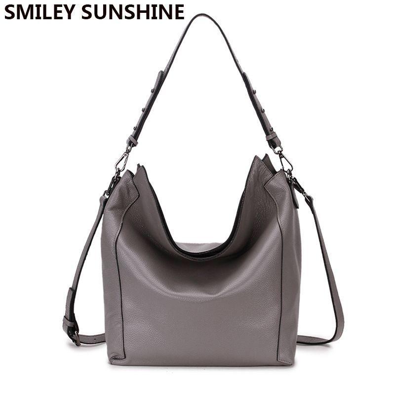 dd4b760966 100% Real Genuine Leather Ladies Bag Casual Handbag Big Hobo Shoulder Bag  For Women 2018 Fashion Large Crossbody Bags Sac A Main Branded Handbags  Ivanka ...