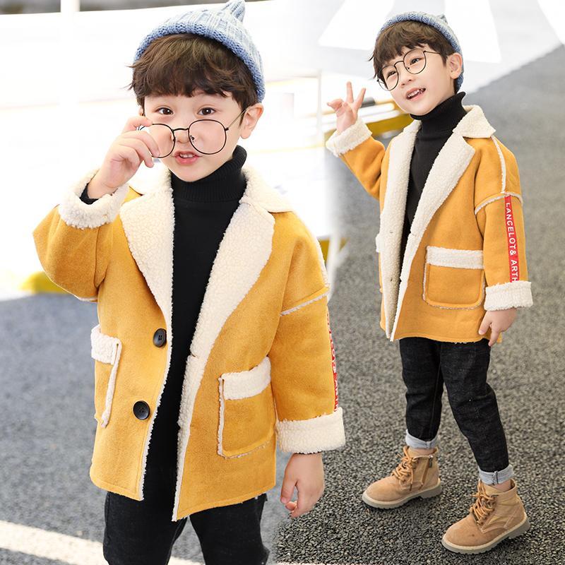 f734305b220b Boys Lamb Velvet Coat Fall Winter Children Korean Suede Spliced ...
