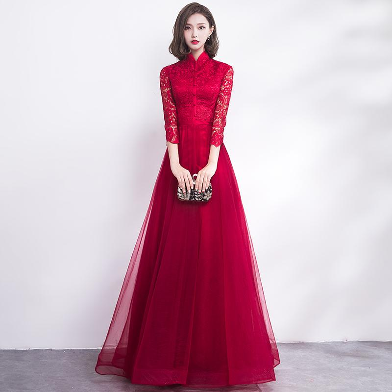 Chinese Wedding Dress.Traditional Chinese Wedding Gown Cheongsam Long Qipao Bride Traditions Classic Women Dress Oriental Dresses Vestido Novia