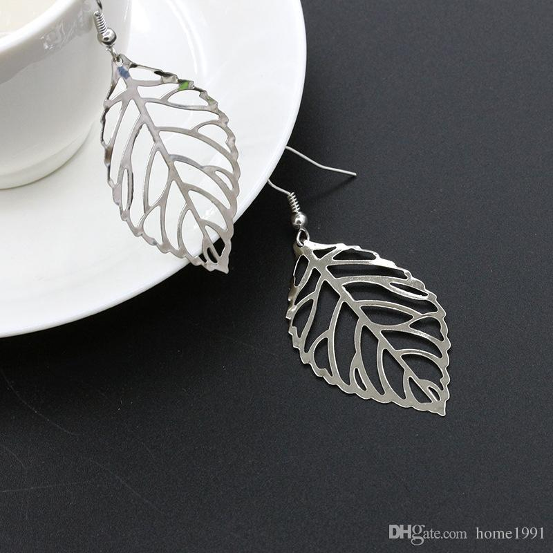 New Gold Silver Cheap Earings Simple Studs Leaf Metal Earrings Girls Female Pendant Leaves Shape Earing Accessories