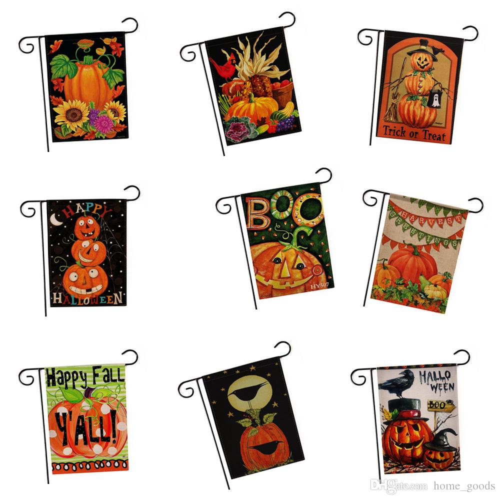 2018 happy halloween thanksgiving christmas decorations garden flag welcome autumn fall pumpkin flags garden banner home party decoration hot from - Halloween Thanksgiving Christmas