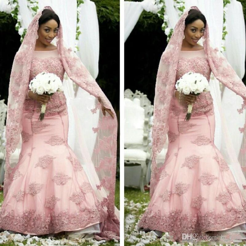 Pink Africa Wedding Dress Long Sleeve Boat Neck Handmade Appliques Lace Mermaid Long Train New Design Bridal Gowns Custom Made