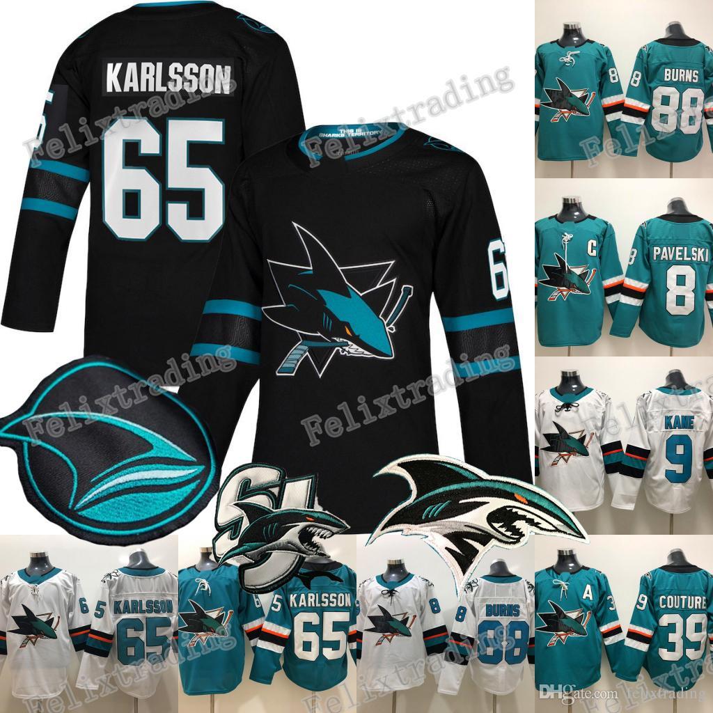 huge selection of 22f96 9f3c0 65 Erik Karlsson 2019 Third San Jose Sharks Joe Thornton Evander Kane 88  Brent Burns 8 Joe Pavelski 39 Logan Couture Hockey Jerseys