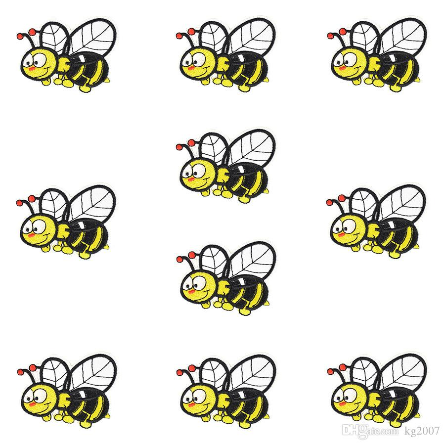 Funny Bee Embroidered Patches for Clothing Bags Iron on Transfer Applique Patch for Jeans Sweater Kids DIY Sew on Embroidery Stickers