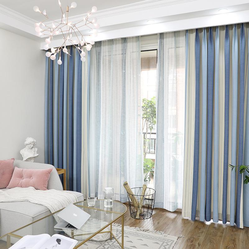 Compre blackout stripe cortinas para sala de estar hotel - Estor con cortina ...