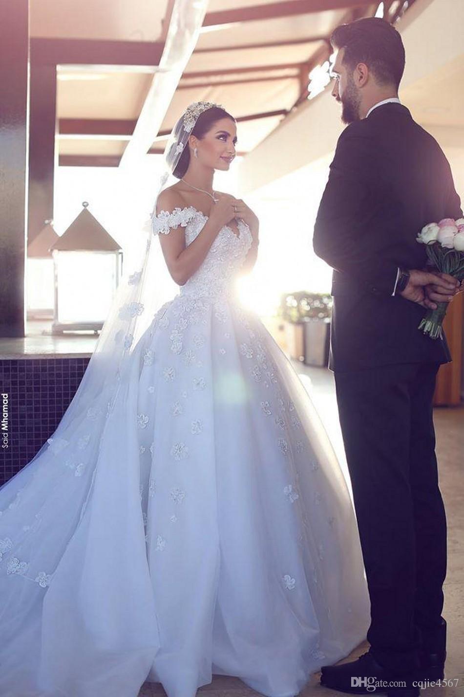 2019 New Vintage Said Mhamad Castle Wedding Dresses Off Shoulder Appliques Lace Chapel Train Custom Made Arabic Wedding Bridal Gowns 516