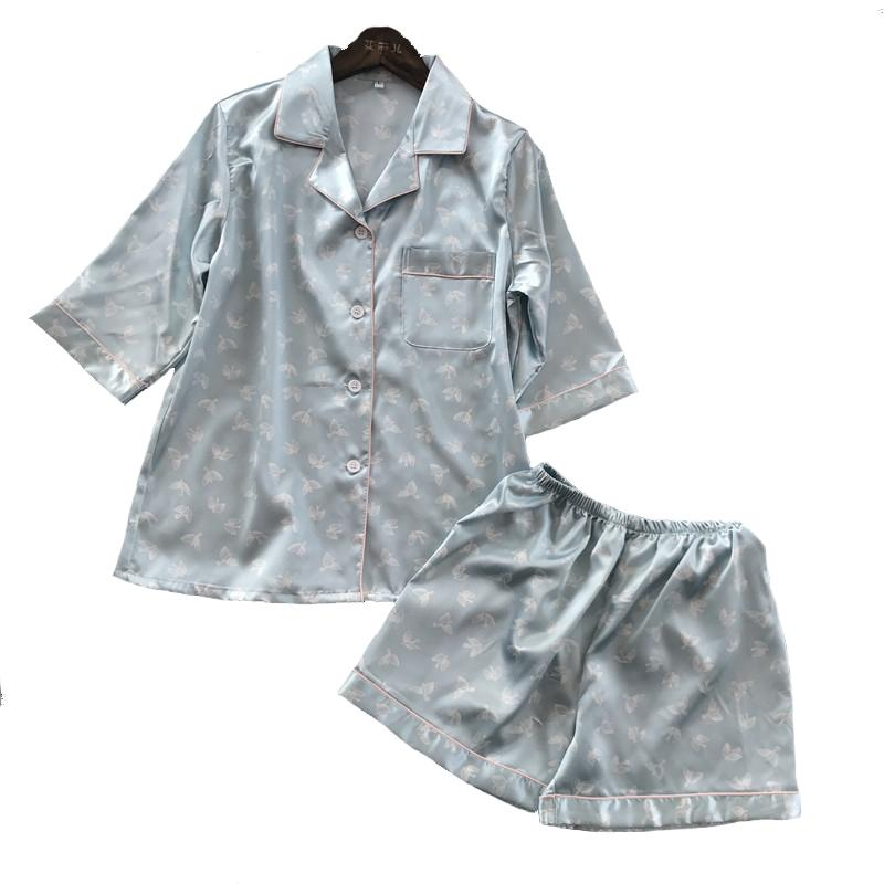 d3f3d684 2018 NEW Lady Short Sleeve Shirt&Shorts Sleep Set Summer Sleepwear ...