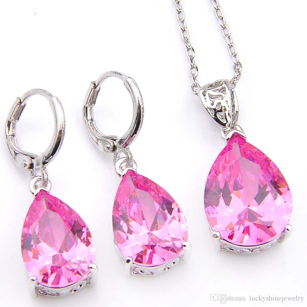 2018 Luckyshine Holiday Gift Water Drop Pink Kunzite Crystal Cubic ...