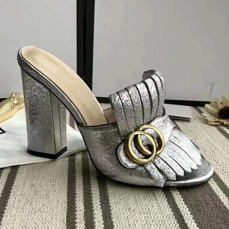 Nueva llegada de la franja de la borla de gladiador sandalias mujer punta abierta Chunky zapatos de tacón alto mujer diseño de marca Muller Shoes size35-40