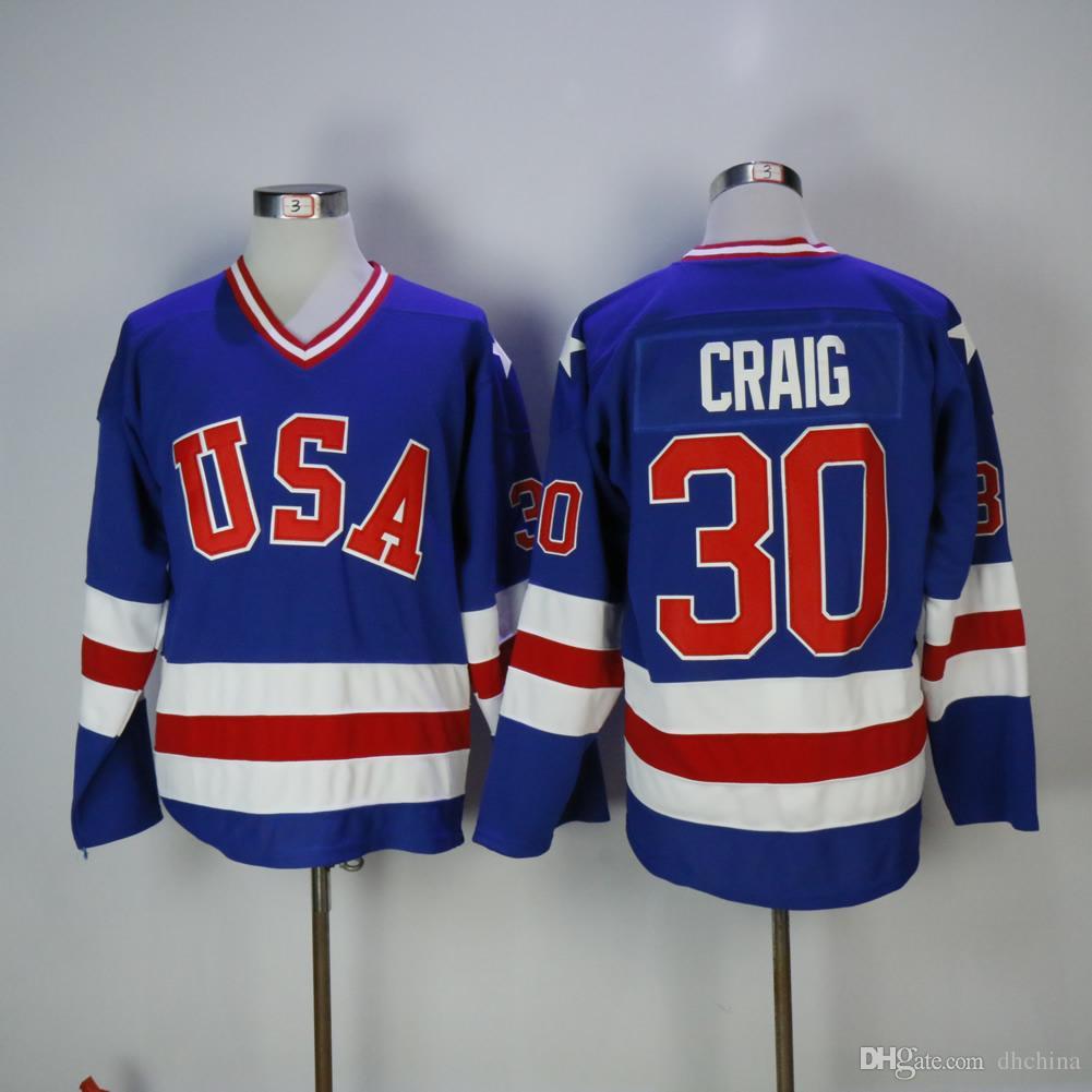 Новые США Throwback Jerseys   30 Craig New Hockey Jerseys Синий и белый  цвет Размер M-XXXL Mix Заказ Высокое качество Футбол Все трикотажные изделия 324c5d8da49