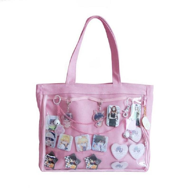 Japanese Wego Ita Bag Kawaii Transparent Window Lolita Canvas Handbag  Shoulder Bag Candy Color Lovely Itabag