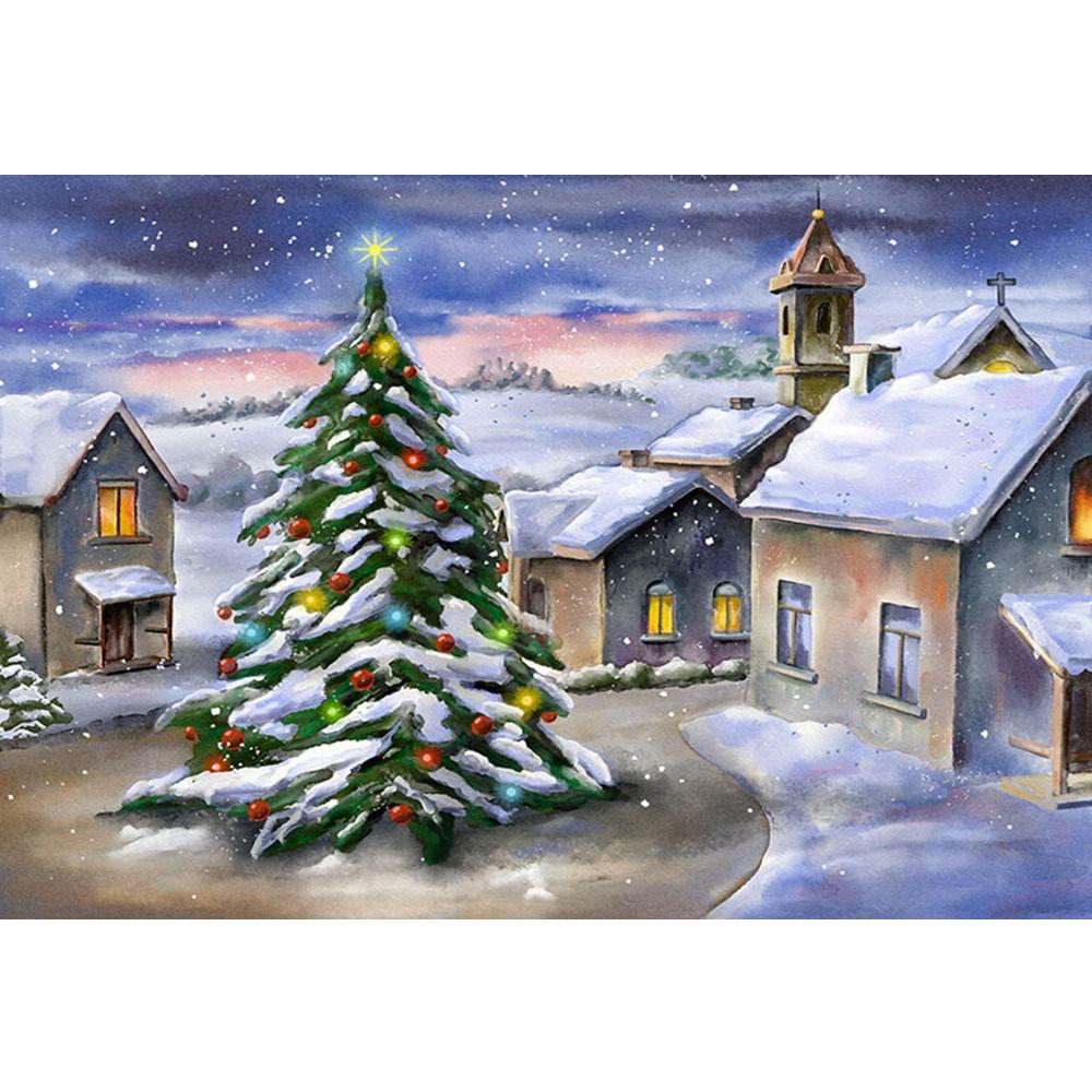 Acheter Peinture à Lhuile Hiver Neige Panoramique Photo Fond