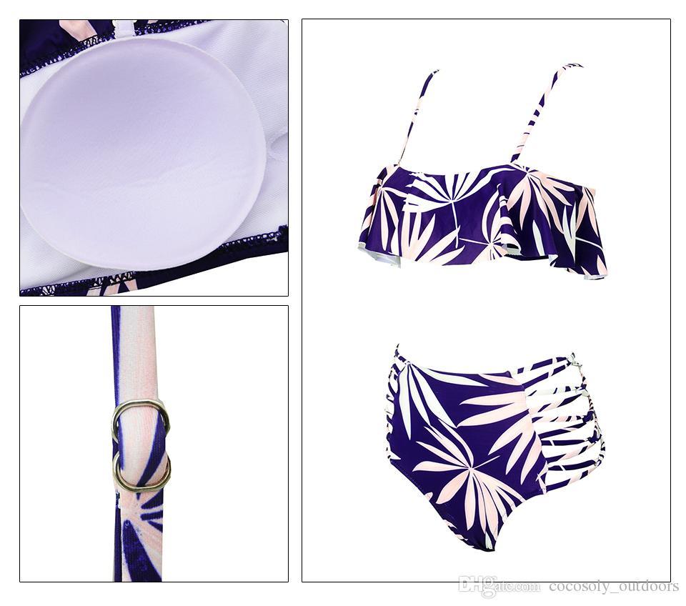 Bikini con spalle scoperte Bikini a fascia sveglie Costumi da bagno a vita alta Costumi da bagno imbottiti donna Swimsuit Beachwear 2018