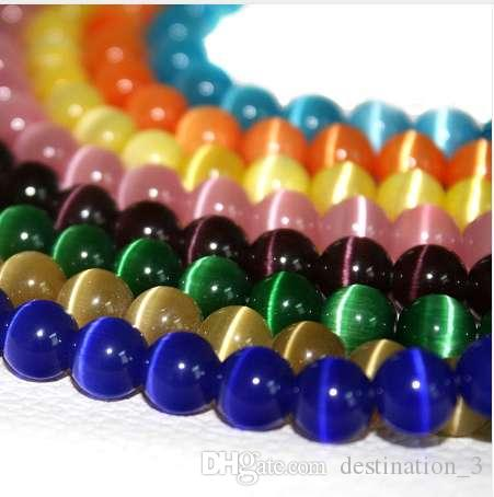A Grade 4mm 195pcs/lot Multi Colours Round Natural Cat Eye Loose Spacer Stone Beads for jewelry making Wholesale