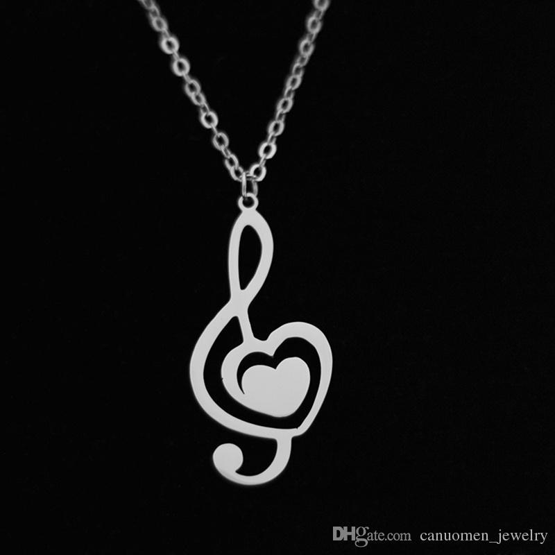 Compre Nota Musical Colgante Collar De Amor En Forma De Corazón De