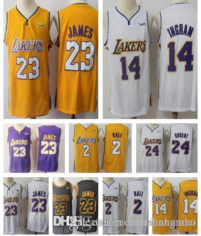 0c5908a7e24 Los Angeles Lakers 23 LeBron James Jerseys 14 Brandon Ingram Jersey 24 Kobe  Bryant 0 Kyle Kuzma 2 Lonzo Ball 2018 Men LeBron James Jerseys Brandon  Ingram ...