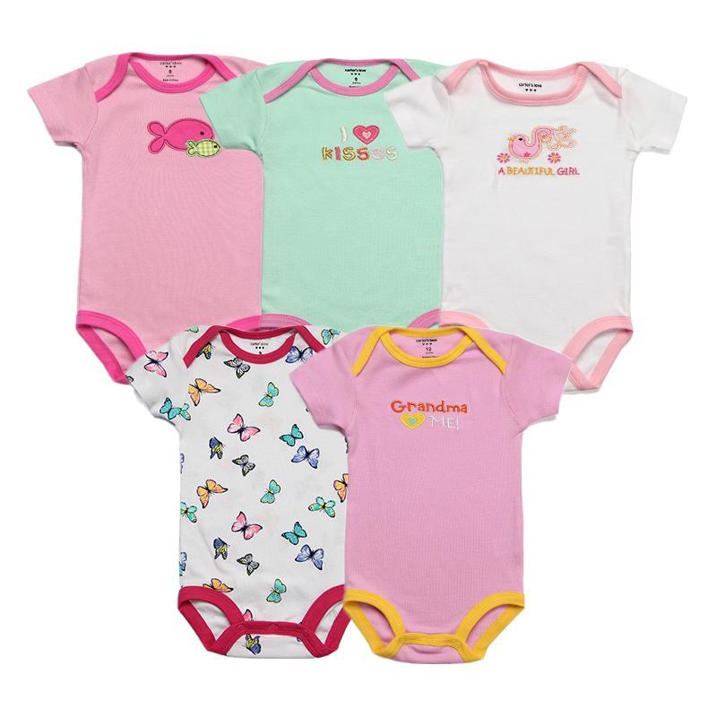 dfb097ce55932 5pcs/lot Baby Bodysuits 100% Cotton Infant Body Short Sleeve Clothing  Similar Jumpsuit Cartoon Printed Baby Boy Girl Bodysuits