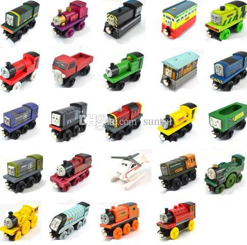 Wooden Toy Vehicles Wood Trains Model Toy Magnetic Train Great Kids Christmas Toys Gifts for Boys Girls
