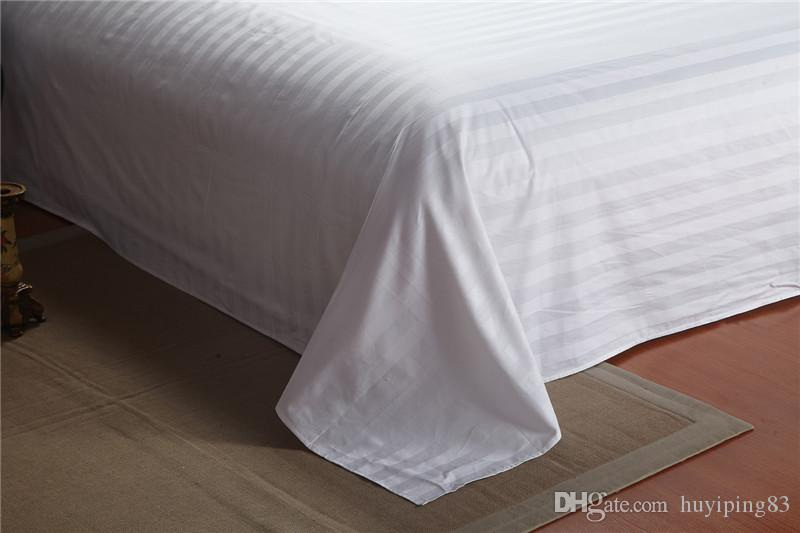 White Streak Hotel bedding sets queen king bed set Solid Color duvet cover bed sheet cotton for Guest Room home textile