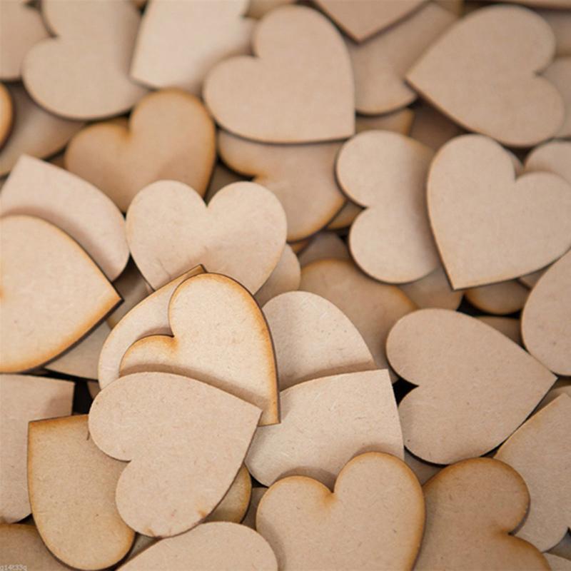 50 قطع 2/3/4 سنتيمتر خشبية القلب ل حفل زفاف الديكور عيد الاطفال عيد إمدادات حزب diy الزفاف الزوارالخاص