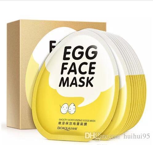 Cuidado de la cara Bioaqua Huevos máscara facial Hidratante hidratante contraer poro ilumina la piel cuidado facial máscara hoja belleza cosméticos