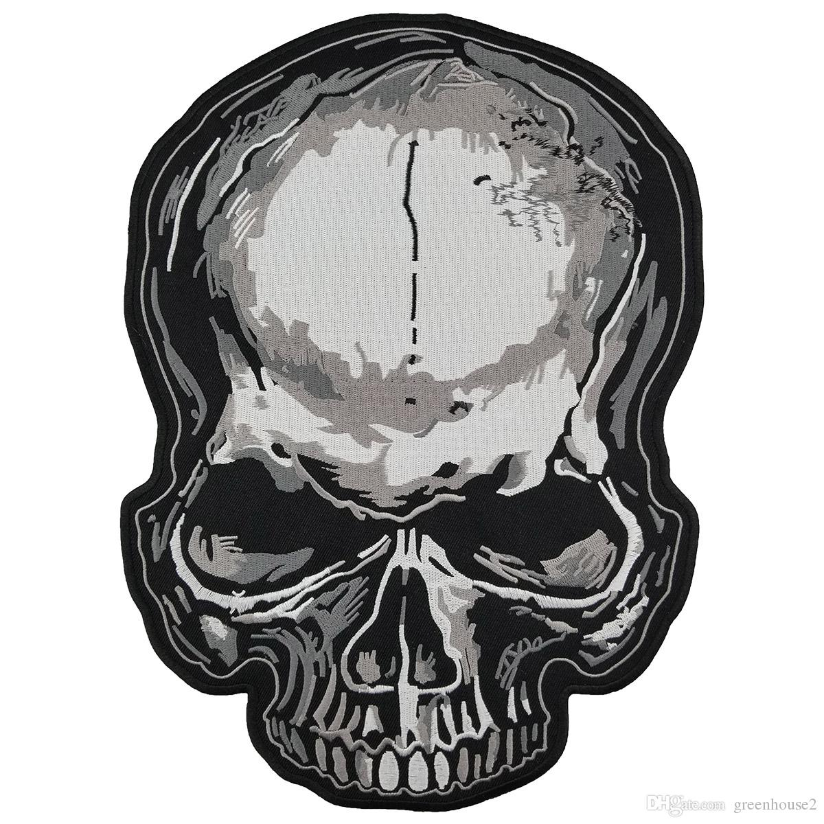 Skull Embroidered Patch Iron On Back of Jacket Patch Black Twill Fabric Free Shipping Custom DIY