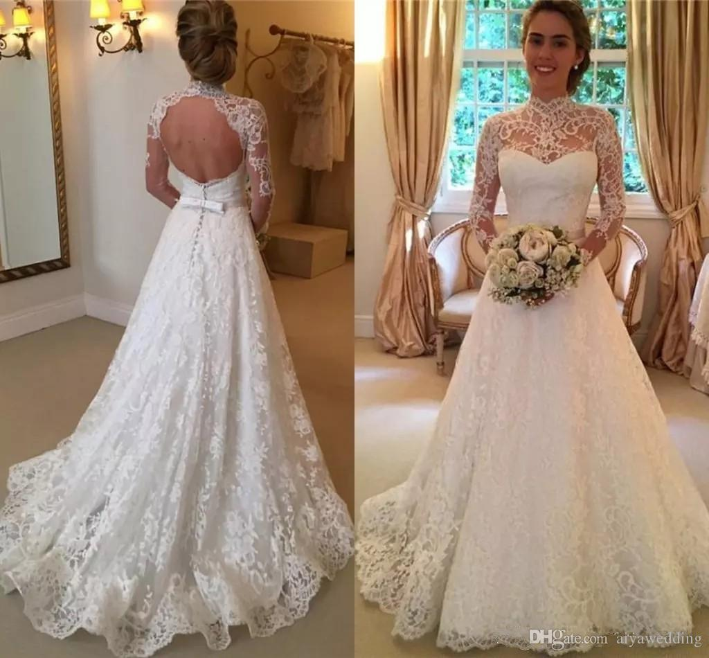 e53c9e089286f Vintage Lace Wedding Dresses High Neck Illusion Sleeved Open Back Aline  Wedding Gowns Chapel Bridal Dresses Free Shipping