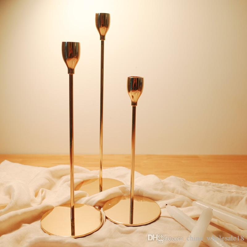 Simple Moments Modern Style Gold Metal Candle Holders Wedding ...
