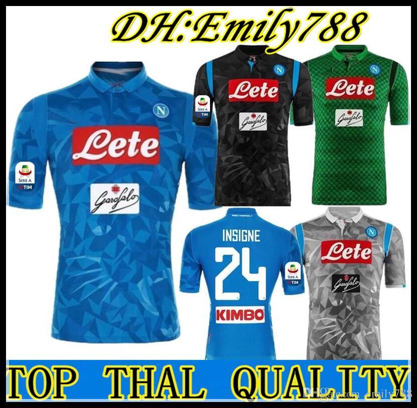 2efd6567d7e14 2018 2019 Serie A Naples New Napoli Camisetas De Fútbol De Local Camisetas  De Fútbol Azul Napoli Camiseta Para Hombres 18 19 HAMSIK L.INSIGNE PLAYER  ...