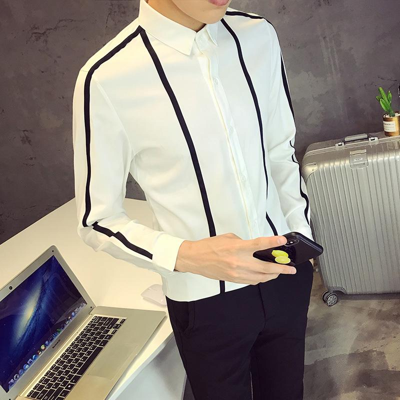 841354784a 2019 2018 Spring New Social Men S Shirt Slim Fashion White Black Business Dress  Shirt Long Sleeve Lapel British Style Casual From Hermanw