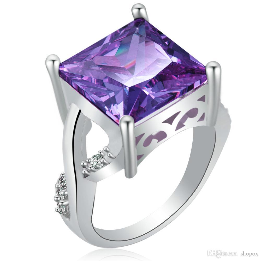 Platinum Plated Zircon Square Zircon Ring Fashion Metal Geometric Type Ring &4 Size