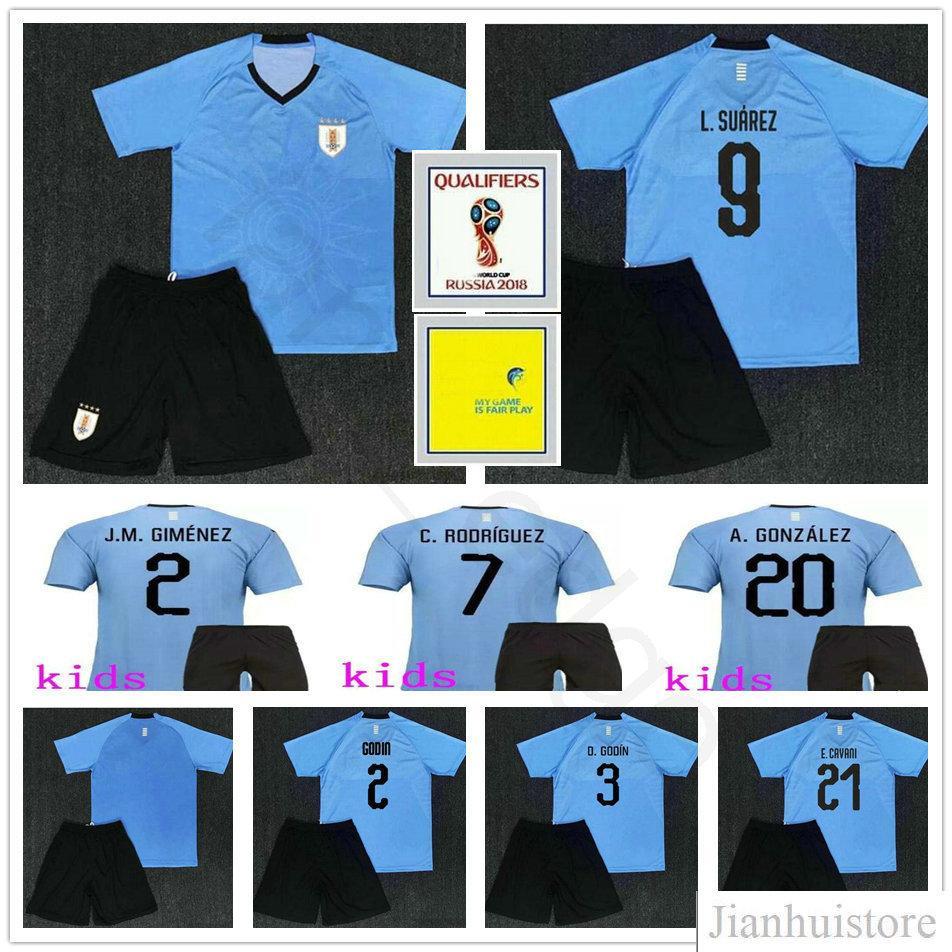 b7a7d2381 Kids Uruguay Soccer Jersey GODIN 7 RODRIGUEZ 9 L.SUAREZ A.GONZALEZ ...