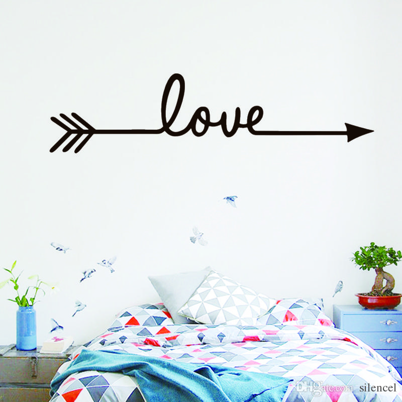 Acquista Love Arrow Wall Stickers Camera Da Letto Romantica ...