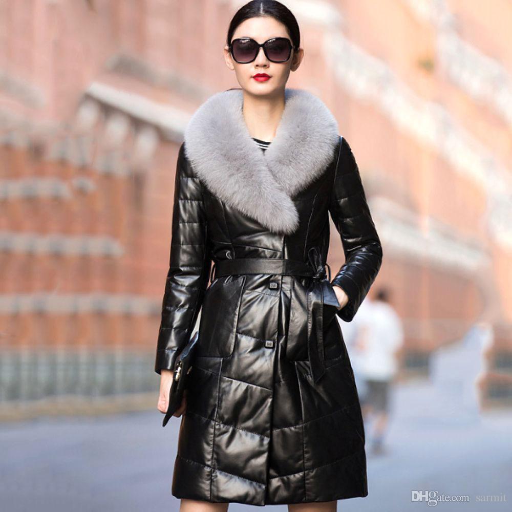 Schwarz Ledermantel Lange Top Echtes Outwear Pelzkragen Daunenjacke Schaffell Mit Qualität Fuchs F491 Leichte Damen Eleganter Ente bfgy6vY7