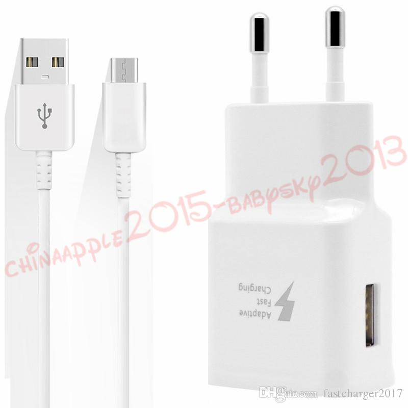 Fast Quick Charging Wall charger fast adaptive eu us uk 5v 2A 9V 1.67A Power adapter With 1.2m type c usb Data cable