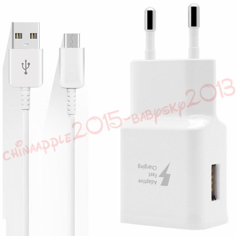 USB-Ladegerät Für Samsung Galaxy S8 Note 8 Ladegerät schnell adaptiv EU UK 5V 2A 9V 1.67A Netzteil 1,2m Typ C USB-Datenkabel