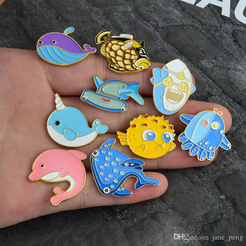 Party Brooches Blue Fish Whale Shark Enamel Badge Jacket Collar Decor Lapel Pin Wholesale Backpack Accessories Gift Drop Shipping
