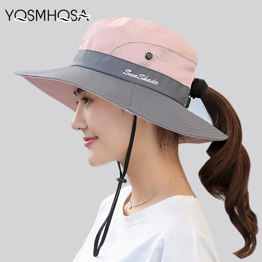 b446a321676 Summer Mesh Wide Brim Sun Hats For Women Breathable Sunhat Outdoor UV  Protection Top Men Bucket Hats Sport Fishing Unisex WH609 Panama Hats  Fedora Hats From ...
